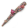 Vintage Inspired Pink Crystal Butterfly and Flower Filigree Hair Beak Clip/ Concord Clip In Antique Silver Tone - 85mm L