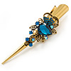 Long Vintage Inspired Gold Tone Teal Crystal Floral Hair Beak Clip/ Concord/ Crocodile Clip - 13.5cm L