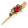 Long Vintage Inspired Gold Tone Ruby Red Crystal Floral Hair Beak Clip/ Concord/ Crocodile Clip - 13.5cm L