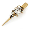 Long Vintage Inspired Gold Tone Clear Crystal Floral Hair Beak Clip/ Concord/ Crocodile Clip - 13.5cm L