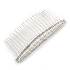 Bridal/ Wedding/ Prom/ Party Silver Plated Clear Crystal, White Faux Pearl Hair Comb - 80mm