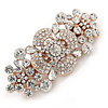 Medium Rose Gold Tone Clear Crystal Floral Barrette Hair Clip Grip - 65mm Across