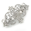 Bridal/ Prom Rhodium Plated Open Cut Clear Crystal, White Glass Pearl Barrette Hair Clip Grip - 85mm Across