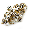 Vintage Inspired Antique Gold Open Cut Clear Crystal, White Glass Pearl Barrette Hair Clip Grip - 85mm Across
