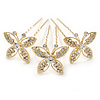 Bridal/ Wedding/ Prom/ Party Set Of 3 Gold Tone Clear Austrian Crystal Butterfly Hair Pins