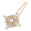 Bridal/ Wedding/ Prom/ Party Single Clear Crystal Star Hair Pin In Gold Tone - 80mm L