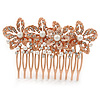 Bridal/ Wedding/ Prom/ Party Rose Gold Tone Clear Crystal, Simulated Pearl Floral Hair Comb - 85mm