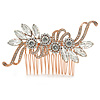 Bridal/ Wedding/ Prom/ Party Rose Gold Tone Clear Crystal Floral Hair Comb - 90mm W