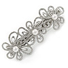 Silver Tone Open Cut Clear Crystal, White Glass Pearl Flower Barrette Hair Clip Grip - 85mm Across
