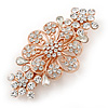 Medium Rose Gold Tone Filigree Diamante Floral Barrette Hair Clip Grip - 70mm Across