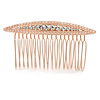 Bridal/ Wedding/ Prom/ Party Rose Gold Tone Clear Crystal, White Faux Pearl Hair Comb - 80mm