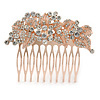 Vintage Inspired Bridal/ Wedding/ Prom/ Party Austrian Clear Crystal 'Leaves & Flowers' Hair Comb In Rose Tone Metal - 75mm