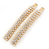 2 Gold Plated Cream Glass Pearl, Clear Crystal Hair Grips/ Slides - 60mm