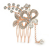 Bridal/ Wedding/ Prom/ Party Rose Gold Tone Clear Austrian Crystal Flower with Dangles Side Hair Comb - 60mm L
