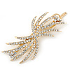 Fancy Clear Crystal Hair Slide/ Grip In Gold Tone Metal - 80mm Across