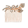 Bridal/ Wedding/ Prom/ Party Rose Gold Tone Clear Austrian Crystal Calla Lily Side Hair Comb - 60mm