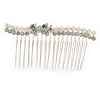Bridal/ Wedding/ Prom/ Party Silver Tone Clear Crystal, Simulated Pearl, Double Butterfly Floral Hair Comb - 80mm