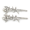 2 Bridal/ Prom Clear Crystal, White Glass Pearl Butterfly Hair Grips/ Slides In Rhodium Plating - 70mm L