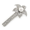 Large Glass Pearl, Clear Crystal Flower Hair Beak Clip/ Concord Clip In Rhodium Plating - 85mm L