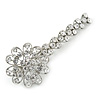 Large Clear Crystal Flower Hair Beak Clip/ Concord Clip In Rhodium Plated Metal - 90mm L