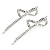 Pair Of Clear Crystal Bow Hair Slides In Rhodium Plating - 55mm L