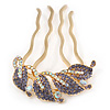 Statement Purple/ AB Crystal Leaf Side Comb In Gold Plated Metal - 95mm L