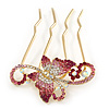 Statement Magenta/ Pink / AB Crystal Butterfly Side Comb In Gold Plated Metal - 95mm L