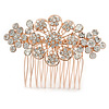 Bridal/ Wedding/ Prom/ Party Rose Gold Tone Clear Austrian Crystal Floral Side Hair Comb - 75mm