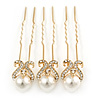 Bridal/ Wedding/ Prom/ Party Set Of 3 Gold Plated Clear Austrian Crystal Faux Pearl Hair Pins