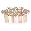 Clear Austrian Crystal Flowers and Twirls Side Hair Comb In Rose Gold Tone - 85mm