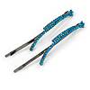 Pair Of Long Teal Crystal 'Daisy' Hair Slides In Black Tone Metal - 90mm L