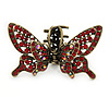 Vintage Inspired Red Crystal Butterfly with Mobile Wings Hair Claw In Antique Gold Tone - 85mm Across