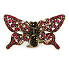 Vintage Inspired Magenta Crystal Butterfly with Mobile Wings Hair Claw In Antique Gold Tone - 85mm Across