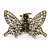 Vintage Inspired Clear Crystal Butterfly with Mobile Wings Hair Claw In Antique Gold Tone - 85mm Across
