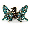 Vintage Inspired Teal Crystal Butterfly with Mobile Wings Hair Claw In Antique Gold Tone - 85mm Across