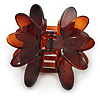 Medium 'Lotus' Flower Brown Acrylic Hair Claw - 75mm Width
