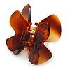 Medium Butterfly Brown Acrylic Hair Claw - 60mm Width