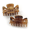 Set of 2 Small Shiny Snake Print Acrylic Hair Claws/ Clamps (Brown/ Beige) - 35mm Long