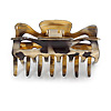 Large Animal Print Shiny Acrylic Hair Claw/ Clamp (Gold/ Black) - 8.5cm Long