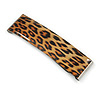 'Clic Clic' Stylish Animal Print Hair Slide/ Grip/ Hair Clip with Silver Tone Closure - 70mm Across