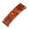 'Clic Clic' Stylish Copper/ Black Marble Effect Print Hair Slide/ Grip/ Hair Clip with Silver Tone Closure - 75mm Across