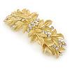 Bright Gold Tone Matt Diamante Leaf Barrette Hair Clip Grip - 90mm Across