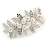 Large Bright Silver Tone Matt Diamante Faux Pearl Floral Barrette Hair Clip Grip - 90mm Across