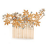 Large Bridal/ Wedding/ Prom/ Party Rose Gold Tone Clear Crystal, Simulated Pearl Floral Hair Comb - 10.5cm