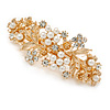 Large Gold Tone Diamante Faux Pearl Floral Barrette Hair Clip Grip - 90mm Across