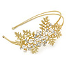 Bridal/ Wedding/ Prom Matte Bright Gold Tone Clear Crystal, White Faux Pearl Floral Tiara Headband - Flex