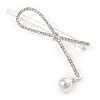 Silver Plated Clear Crystal, Simulated Pearl Bead Open Bow Hair Slide/ Grip - 70mm Across