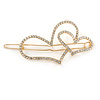 Gold Plated Clear Crystal Open Double Heart Hair Slide/ Grip - 75mm Across
