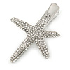 Clear Crystal Starfish Hair Beak Clip/ Concord Clip/ Clamp Clip In Silver Tone - 65mm L