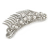 Bridal/ Wedding/ Prom/ Party Rhodium Plated Clear Crystal White Faux Pearl Hair Comb/ Tiara - 95mm